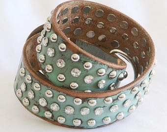 "Turquoise Leather Dog Collar, Full Grain Leather Dog Collar, Large Dog Collar Leather, Bully Collar, Comes in four sizes 17"" thru 24"""