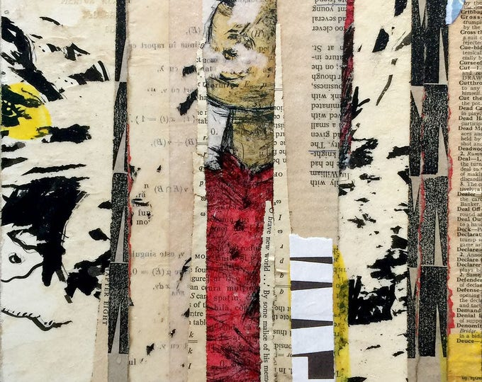 everything is a fortress / original painting / original collage / art gift / art lover / mixed media painting / art on wood
