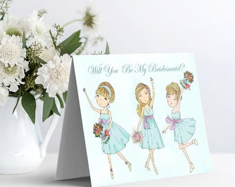 Printable Bridal Party Card - Will You Be My Bridesmaid
