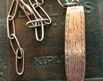 Vintage Silver Watch Fob Monogram HPW