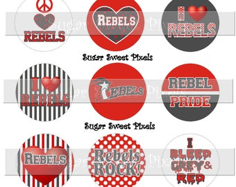 INSTANT DOWNLOAD Grey  Red  Rebels  School Mascot 1 inch Circle Bottlecap Images 4x6 sheet