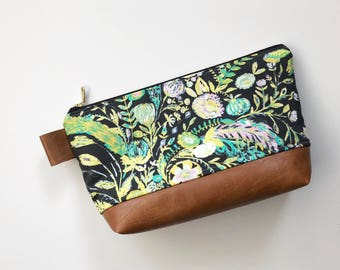 Amy butler floral makeup bag with brown faux leather