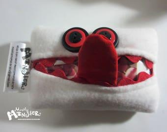 Kleenex Kreature; Tissue Holder; Pocket Tissue; Travel hankie;  back to school; purse pal; tissue cover; white black tissue monster