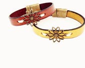 Sunflower Leather Bracelet. Choose Bracelet Color. Magnetic Clasp Premium Leather Bracelet.