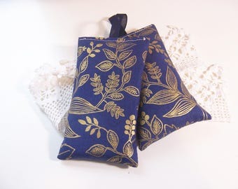 Set of two hanging lavender sachets in Rifle paper fabric sachet for your drawers or your bathroom . sleep aid or small gift.
