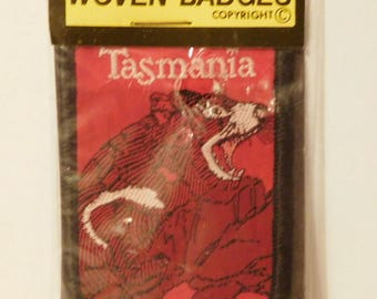 Tasmania Australia Vintage Patch Badge - Tasmanian Devil - Original Package Woven Patch - Souvenir