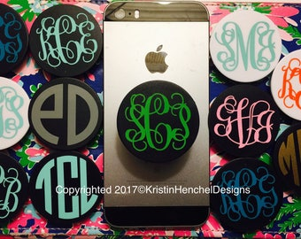 Monogrammed Personalized pop socket Black or White