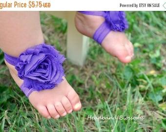 SALE READY TO Ship - Purple Barefoot Sandals - Baby Shoes - Frayed Chiffon Flower Sandal - Newborn Baby Photo Prop 1st Birthday