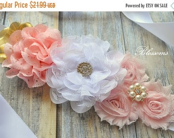 SALE Beautiful Chiffon Flower Maternity Sash - Pregnancy Photo Prop - Blush Pink Gold Pregnancy Sash - It's a Girl Maternity Belt - Belly Sa
