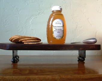 Rustic Walnut Wood Serving Tray, Wood Cheese Board, Wood Cutting Board With Vintage Stanley Sweetheart Hinge Feet SW Wooden Bread Board