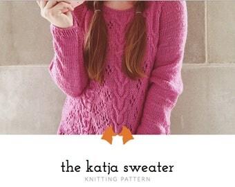 Knit Sweater Pattern, Knitting Pattern, Cable Knit Sweater, Knitting Pattern for Women, PDF Pattern, Lace Knit Pattern | Katja Cable Sweater