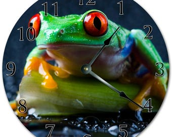 "10.5"" Amazon POISON DART FROG Clock - Living Room Clock - Large 10.5"" Wall Clock - Home Décor Clock - 5604"