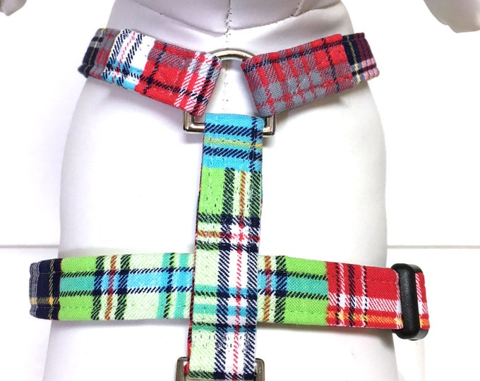 Featured listing image: Naked Dog Harness- The Mad About Plaid- Adjustable Harness