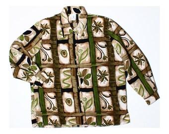 Vintage 80s Olive Green Retro Print Shirt UK 18 US 16