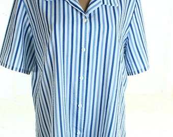 Vintage 80s Fable Blue White Striped Top Shirt UK 18 US 16