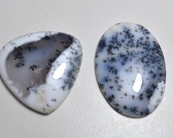 Top Quality !!!~ 100% Natural Dendrite Opal Cabochons, Flat Back Dendrite Opal Cabochons, Good Quality Dendrite Opal Cabochons