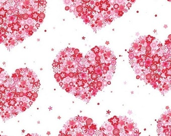 20 % off thru 7/4 HEARTS & FLOWERS Michael Miller fabric by the half yard cotton red pink hearts on white CX4913-Redx