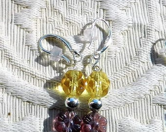 Carved and Faceted Glass Earrings with Sterling Silver Fishhook Ear Wire