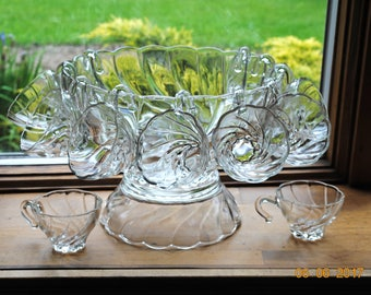 Punch Bowl With Base and 12 Cups in The Colonial Swirl Shell  by Hazel Atlas