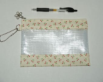 """Waterproof Vinyl Zipper Pouch / Pencil Case / Cosmetic Bag Made with Laminated Cotton """"Mini Cherries"""" with Vinyl"""