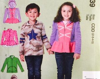 McCall's M7239, Size 2-3-4-5, Children's /Boy's/Girls' Jackets Pattern, UNCUT, Hooded Jacket, Ruffled Jacket, Outerwear, Fleece