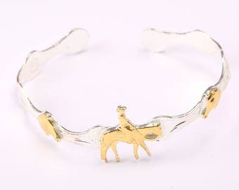 Vintage Silver and Gold-tone Horse Bracelet/Torque
