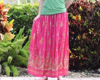 Fuchsia Pink Skirt, Gypsy Skirt, Maxi Skirt, Indian Skirt, Sequin Skirt, Long Skirt, Festival Skirt, Festival Clothing, Boho Skirt, Bohemian