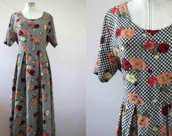80s does 50s Lattice Floral Midi Market Day Dress Medium