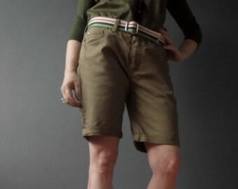 80s Khaki Drill Pleated  Shorts Medium