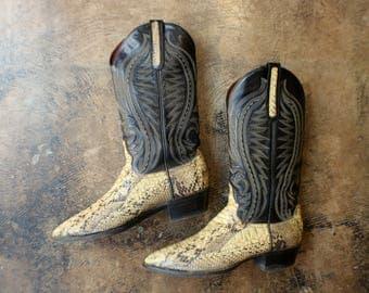 Snakeskin Cowboy Boots / Vintage Women's Size 9 Western Boots / Men's 7 1/2 D Reptile Boots / Larry Mahon