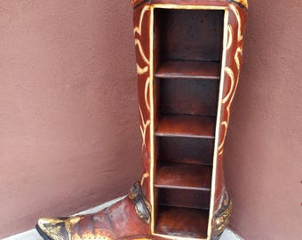 """Large Cowboy Boot Shelved Display Texas Longhorn Store or Home Display 36"""" Tall Western Ranch Home Decor"""