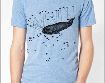 Men's T shirt Aviation Whale Birds Urban American Apparel Tee XS, S, M, L, XL 9 COLORS