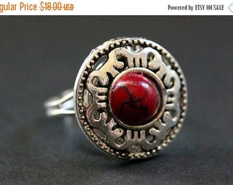 BACK to SCHOOL SALE Blood Mandala Ring. Dark Red and Silver Mandala Ring. Button Ring. Adjustable Ring. Handmade Jewelry.