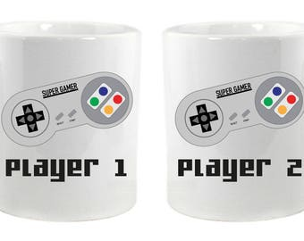 Player 1 and Player 2 Matching Mugs
