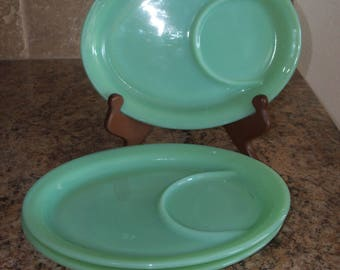 FREE Usa Shipping-3 Fire King Jadeite Oval Partitioned Restaurant Ware Platters-Jadite G211