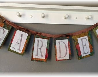 Whimsical Primitive Kantha Banner / Prayer Flag  GARDEN