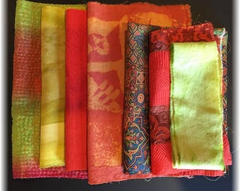 Boro Bundle / ORANGE LIME (7 pieces) Assortment of Hand Dyed and Vintage Fabrics for Boro Art, Embellishment and Mixed Media