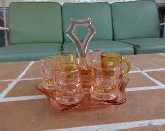 vintage depression glass barware shot glasses tray pink federal 1930's kitsch