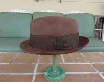 vintage men's stetson hat derby bolero fedora 1920's hipster brown