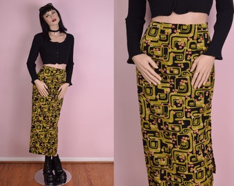 90s Psychedelic Floral Print Skirt/ US 3/ 1990s