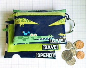 Alligators Give Save Spend cash envelopes for kids | wipeable kids budget wallet set