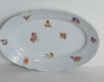 Beautiful Petite Reinecke Gegründet 1796 Oval Transferware Flower Dish Vintage