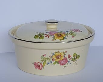 Vintage Pottery Floral Covered Casserole Baking Dish Bean Pot