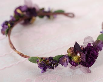 Purple Flower Crown - Adjustable Fit - Bride / Flower Girl / Fairy / Made with Vintage Florals