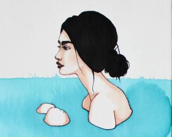 Original Painting, Drift #4, Watercolor Art, Figurative Woman Portrait