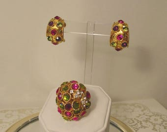 Rare 1960s Vendome Design Statement Ring and Earrings Demi Parure