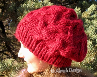 Knitting Pattern 203 Cable Pattern Hat Knitting Pattern Amanda Slouchy Hat Toddler Child Teen Adult Girls Ladies Women Pompom Christmas Gift