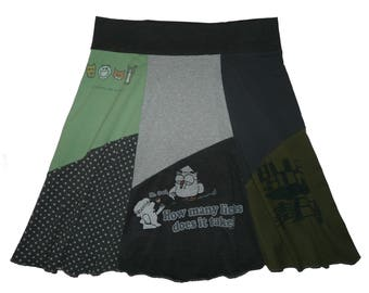 Tootsie Pop Owl Plus Size 2X 3X Upcycled Skirt Boho Skirt Hippie Skirt Women's size 22 24 26 recycled t-shirt Twinkle Skirts Twinklewear