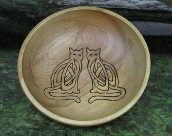 Asatru Blot Bowl: Freyas Cats, Blot Blessing Bowl, Norse Bowli, Asatru Ritual Bowl, Asatru Blessing Bowl, Viking Blessing Bowl, Viking Bowli