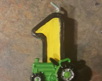Green and Yellow Painted Candle with Tractor - painted candle birthday candle party decoration tractor party tractor candle